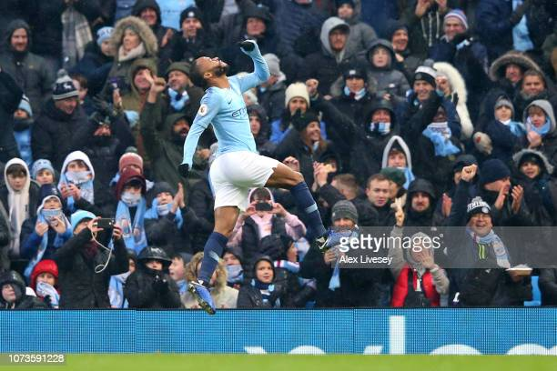 Raheem Sterling of Manchester City celebrates after scoring his team's third goal during the Premier League match between Manchester City and Everton...