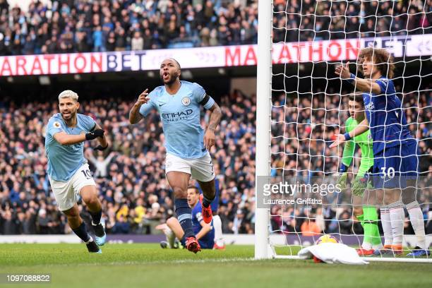 Raheem Sterling of Manchester City celebrates after scoring his team's first goal during the Premier League match between Manchester City and Chelsea...