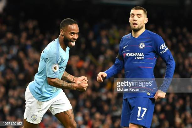 Raheem Sterling of Manchester City celebrates after scoring his team's sixth goal as Mateo Kovacic of Chelsea looks dejected during the Premier...