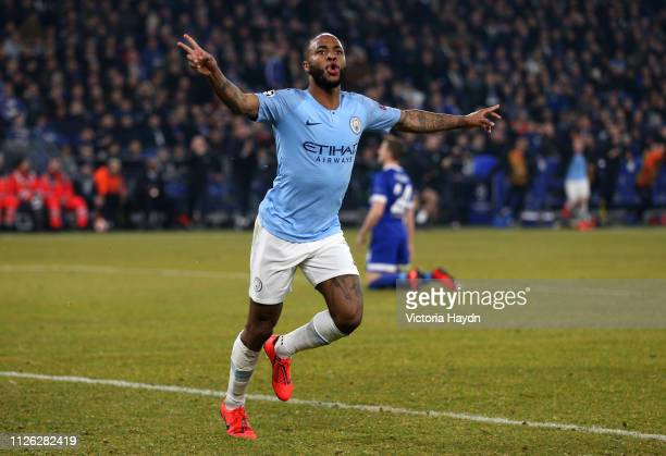 Raheem Sterling of Manchester City celebrates after scoring his team's third goal during the UEFA Champions League Round of 16 First Leg match...
