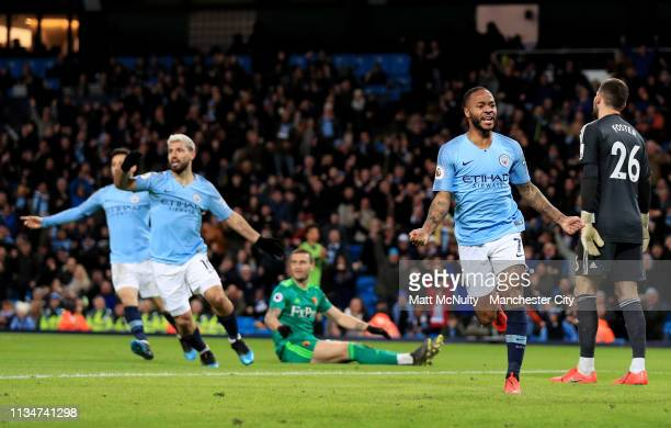 Raheem Sterling of Manchester City celebrates after scoring his team's first goal during the Premier League match between Manchester City and Watford...