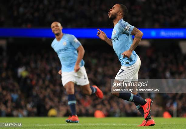 Raheem Sterling of Manchester City celebrates after scoring his team's third goal during the Premier League match between Manchester City and Watford...