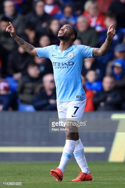 Raheem Sterling of Manchester City celebrates after scoring his team's second goal during the Premier League match between Crystal Palace and...