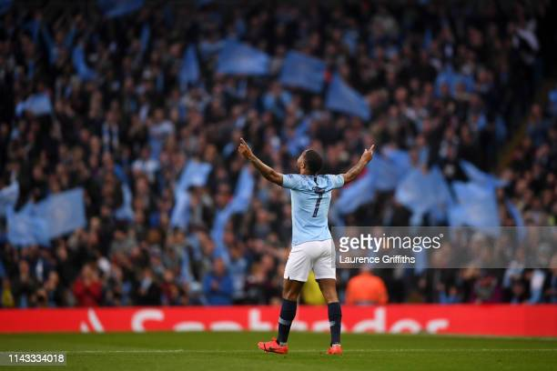 Raheem Sterling of Manchester City celebrates after scoring his team's first goal during the UEFA Champions League Quarter Final second leg match...