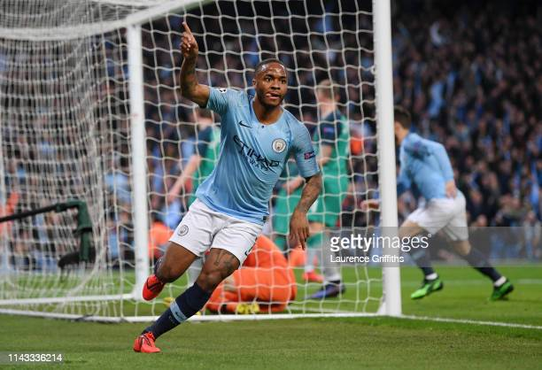 Raheem Sterling of Manchester City celebrates after scoring his team's third goal during the UEFA Champions League Quarter Final second leg match...