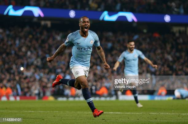 Raheem Sterling of Manchester City celebrates after scoring his team's fifth goal which is later disallowed for offside during the UEFA Champions...