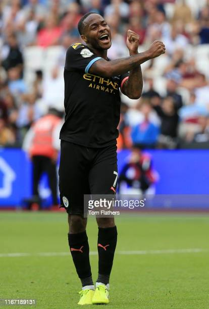 Raheem Sterling of Manchester City celebrates after scoring his team's fifth goal during the Premier League match between West Ham United and...