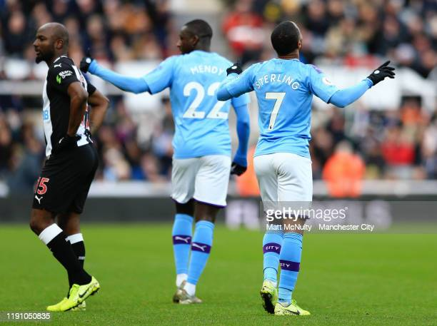 Raheem Sterling of Manchester City celebrates after scoring his team's first goal during the Premier League match between Newcastle United and...