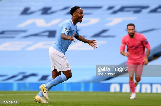 Raheem Sterling of Manchester City celebrates after scoring his team's first goal during the UEFA Champions League round of 16 second leg match...
