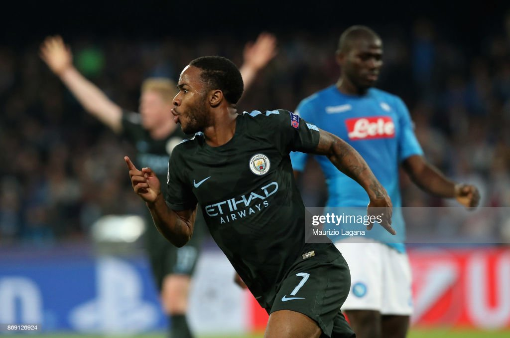 Raheem Sterling of Manchester City celebrates after scoring his team's 4th goal during the UEFA Champions League group F match between SSC Napoli and Manchester City at Stadio San Paolo on November 1, 2017 in Naples, Italy.