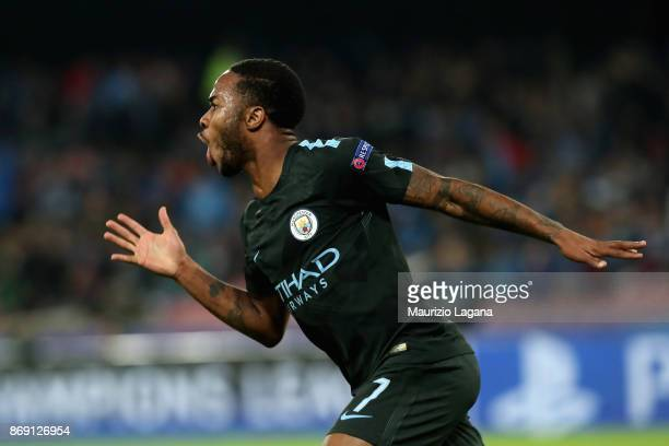 Raheem Sterling of Manchester City celebrates after scoring his team's 4th goal during the UEFA Champions League group F match between SSC Napoli and...
