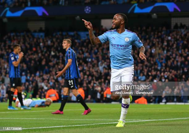 Raheem Sterling of Manchester City celebrates after scoring his third goal during the UEFA Champions League group C match between Manchester City and...