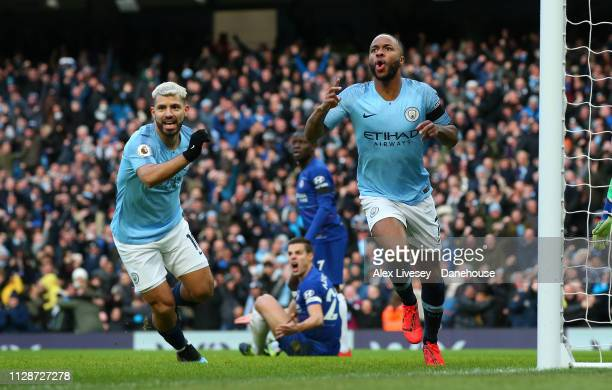 Raheem Sterling of Manchester City celebrates after scoring the opening goal during the Premier League match between Manchester City and Chelsea FC...