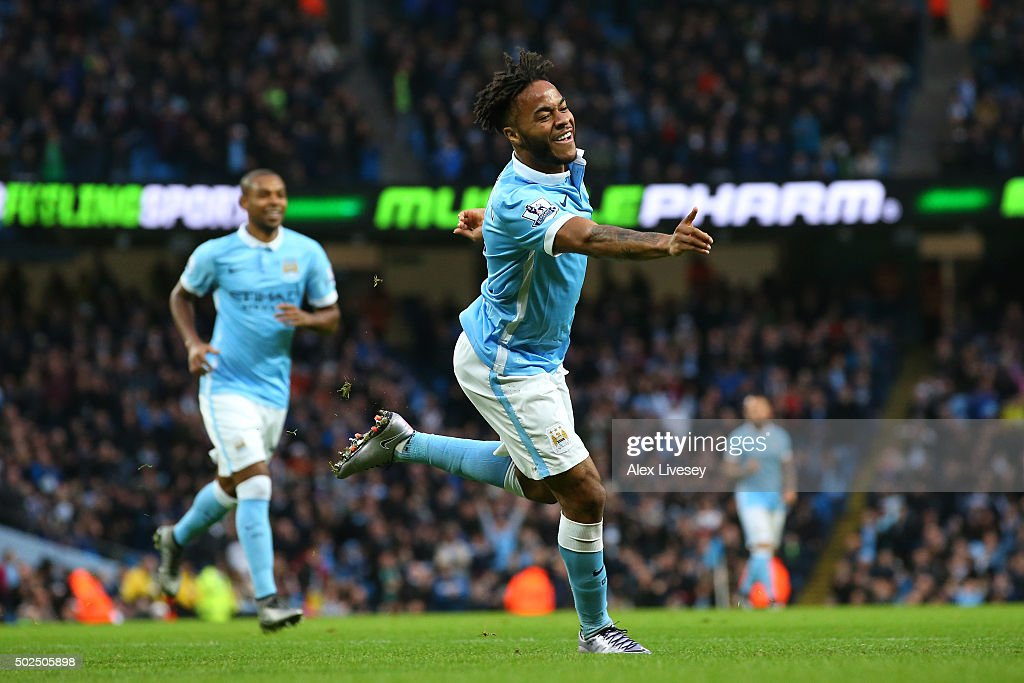 Raheem Sterling of Manchester City celebrates after scoring the opening goal with a header during the Barclays Premier League match between Manchester City and Sunderland at the Etihad Stadium on December 26, 2015 in Manchester, England.