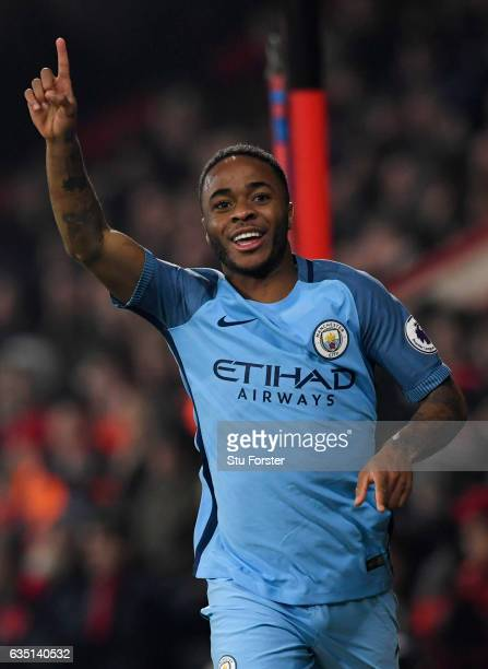 Raheem Sterling of Manchester City celebrates after scoring the opening goal during the Premier League match between AFC Bournemouth and Manchester...