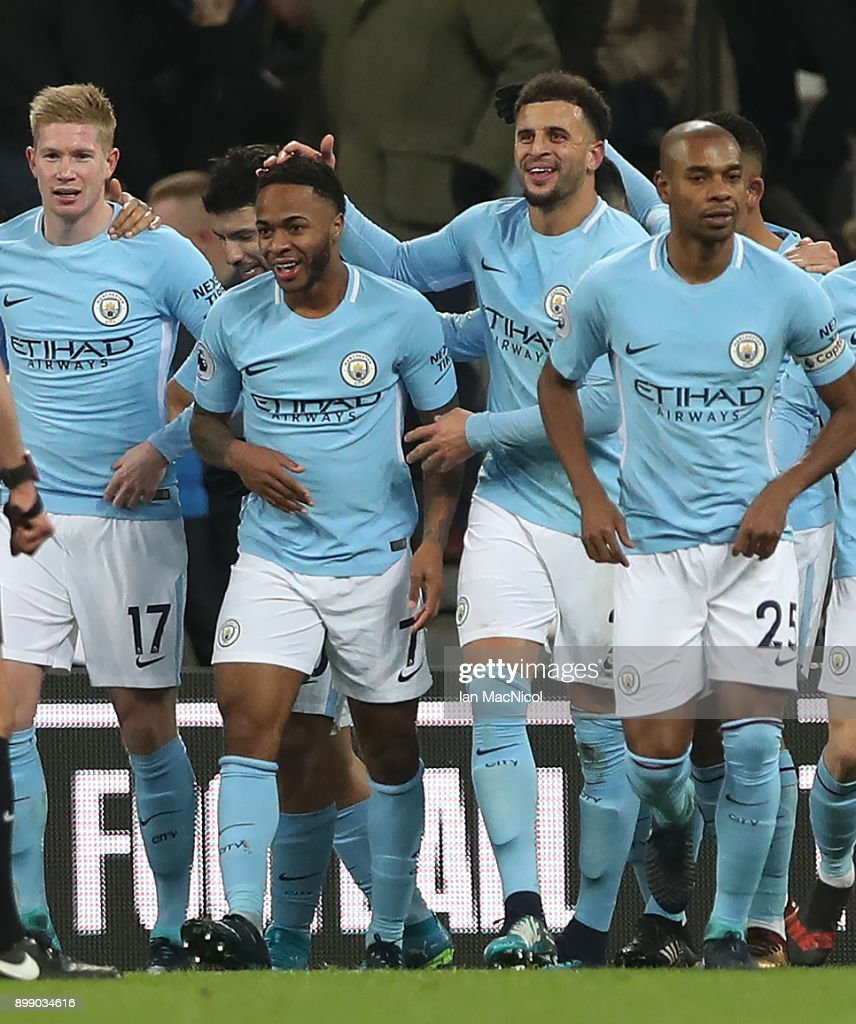 Raheem Sterling of Manchester City celebrates after scoring the opening goal during the Premier League match between Newcastle United and Manchester City at St. James Park on December 27, 2017 in Newcastle upon Tyne, England.
