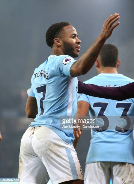 Raheem Sterling of Manchester City celebrates after scoring the third goal during the Premier League match between Manchester City and Tottenham...