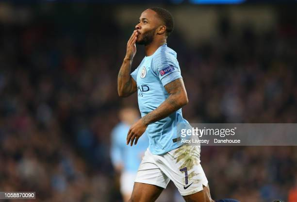 Raheem Sterling of Manchester City celebrates after scoring their third goal during the UEFA Champions League Group F match between Manchester City...