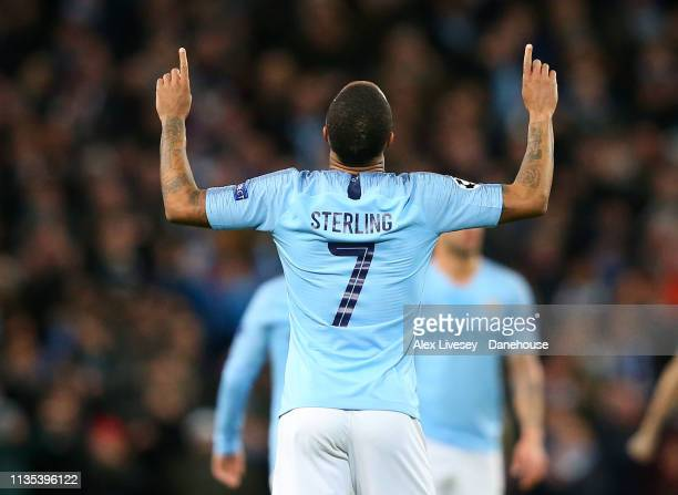 Raheem Sterling of Manchester City celebrates after scoring their fourth goal during the UEFA Champions League Round of 16 Second Leg match between...