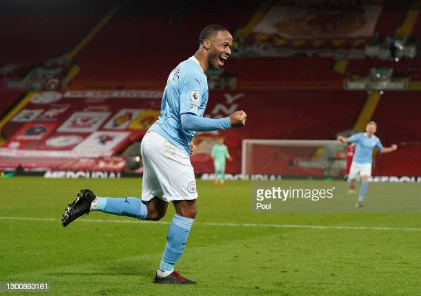 Raheem Sterling of Manchester City celebrates after scoring their side's third goal during the Premier League match between Liverpool and Manchester...