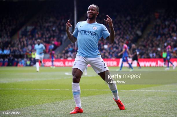 Raheem Sterling of Manchester City celebrates as he scores his team's second goal during the Premier League match between Crystal Palace and...