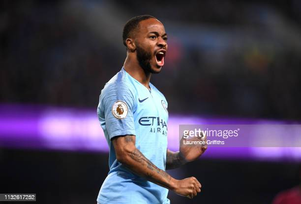 Raheem Sterling of Manchester City celebrates his sides first goal during the Premier League match between Manchester City and West Ham United at...