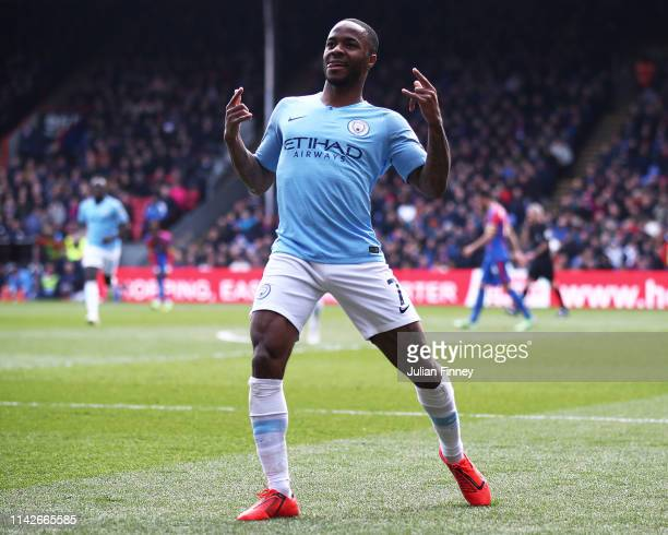 Raheem Sterling of Manchester City celebrates scoring his second goal during the Premier League match between Crystal Palace and Manchester City at...