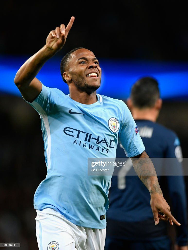 Raheem Sterling of Manchester City celebrates scoring his sides first goal during the UEFA Champions League group F match between Manchester City and SSC Napoli at Etihad Stadium on October 17, 2017 in Manchester, United Kingdom.