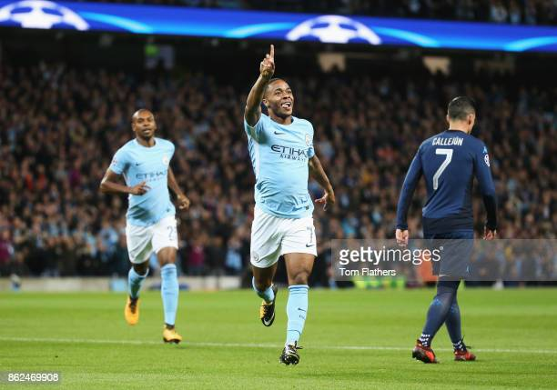 Raheem Sterling of Manchester City celebrates scoring his sides first goal during the UEFA Champions League group F match between Manchester City and...