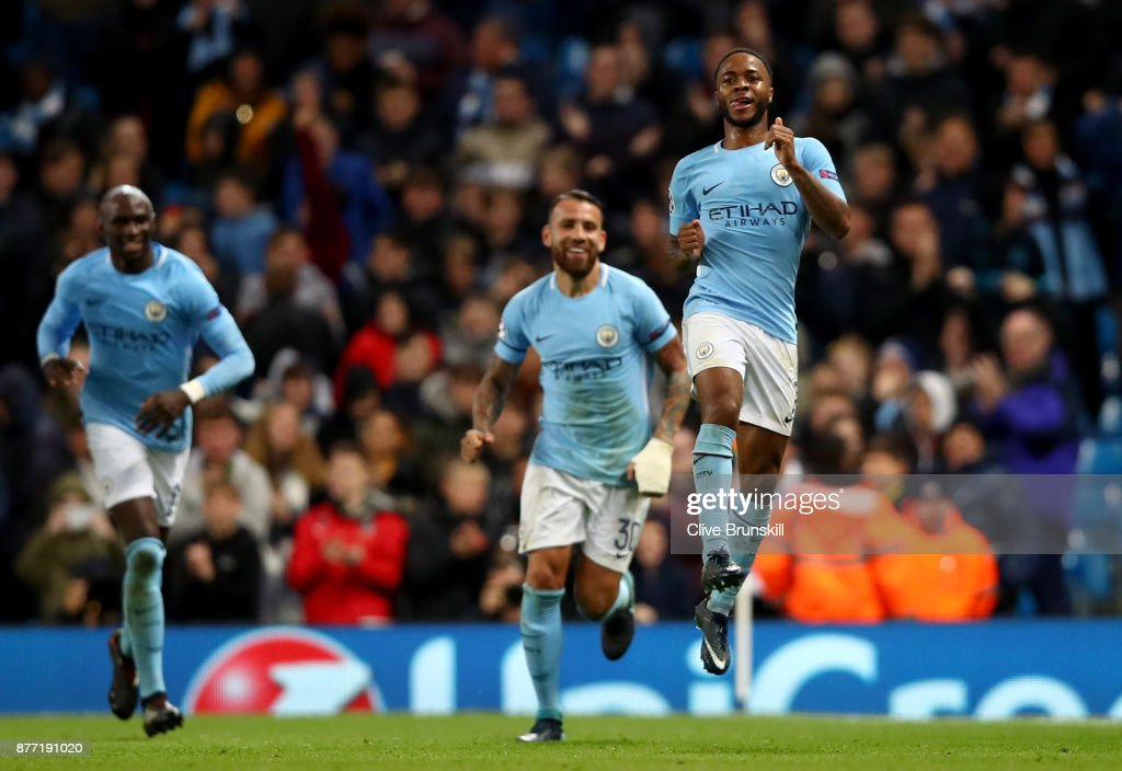 Raheem Sterling of Manchester City celebrates scoring his sides first goal during the UEFA Champions League group F match between Manchester City and Feyenoord at Etihad Stadium on November 21, 2017 in Manchester, United Kingdom.