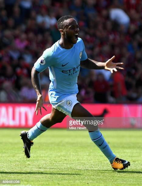 Raheem Sterling of Manchester City celebrates scoring his sides second goal during the Premier League match between AFC Bournemouth and Manchester...