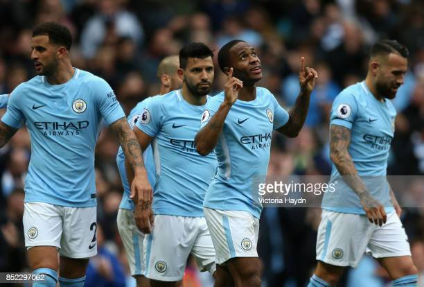 Raheem Sterling of Manchester City celebrates scoring his side's second goal during the Premier League match between Manchester City and Crystal...