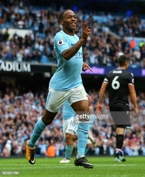 Raheem Sterling of Manchester City celebrates scoring his sides second goal during the Premier League match between Manchester City and Crystal...