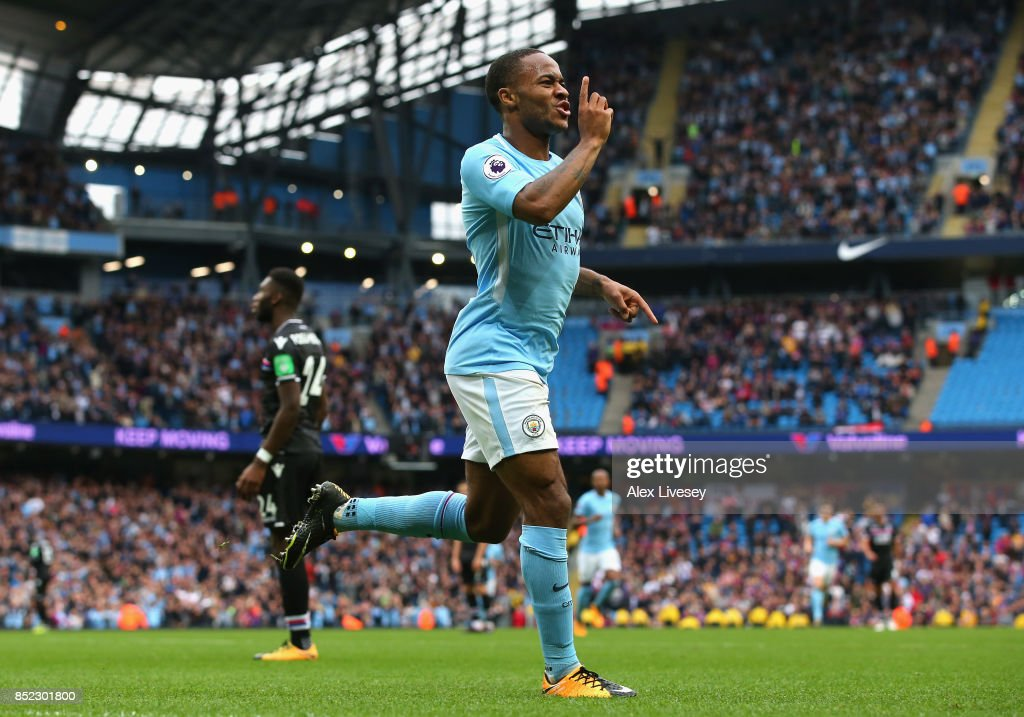 Raheem Sterling of Manchester City celebrates scoring his sides second goal during the Premier League match between Manchester City and Crystal Palace at Etihad Stadium on September 23, 2017 in Manchester, England.