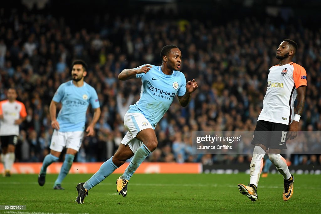 Raheem Sterling of Manchester City celebrates scoring his sides second goal during the UEFA Champions League Group F match between Manchester City and Shakhtar Donetsk at Etihad Stadium on September 26, 2017 in Manchester, United Kingdom.