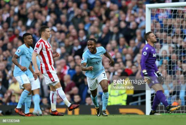 Raheem Sterling of Manchester City celebrates scoring his sides second goal during the Premier League match between Manchester City and Stoke City at...