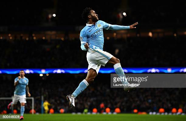 Raheem Sterling of Manchester City celebrates scoring his side's third goal during the UEFA Champions League Group D match between Manchester City...