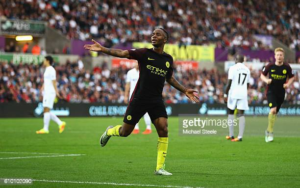 Raheem Sterling of Manchester City celebrates scoring his sides third goal during the Premier League match between Swansea City and Manchester City...
