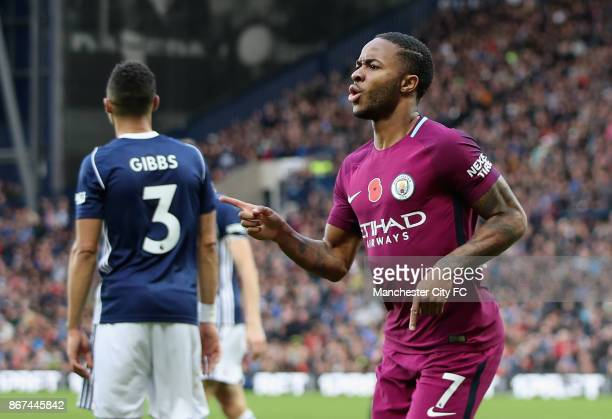 Raheem Sterling of Manchester City celebrates scoring his sides third goal during the Premier League match between West Bromwich Albion and...