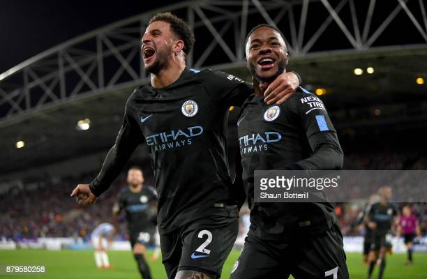 Raheem Sterling of Manchester City celebrates scoring the 2nd Manchester City goal with Kyle Walker of Manchester City during the Premier League...