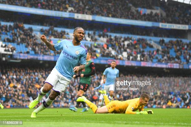 Raheem Sterling of Manchester City celebrates scoring the first goal during the Premier League match between Manchester City and Aston Villa at...