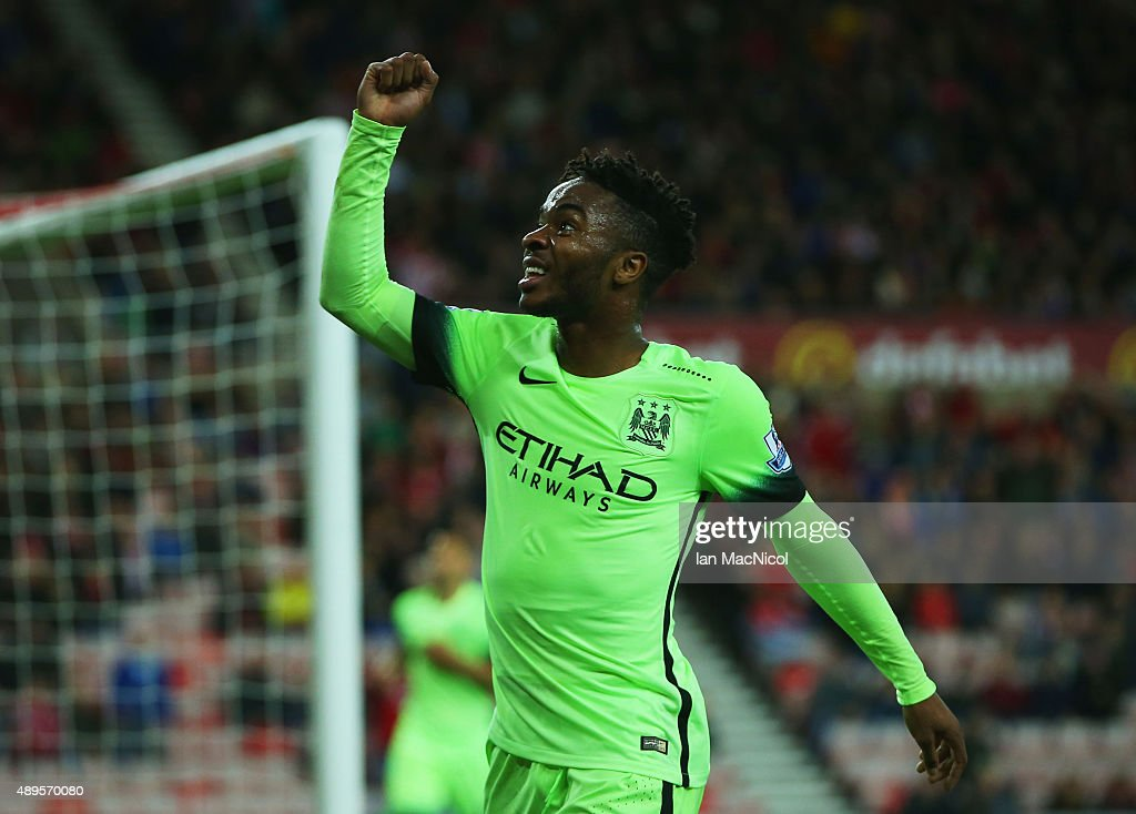 Raheem Sterling of Manchester City celebrates scoring the fourth goal during the Capital One Cup third round match between Sunderland and Manchester City at Stadium of Light on September 22, 2015 in Sunderland, England.