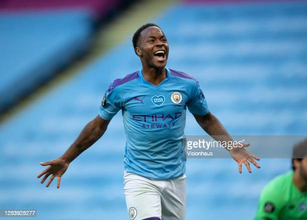 Raheem Sterling of Manchester City celebrates scoring the second goal during the Premier League match between Manchester City and Liverpool FC at...