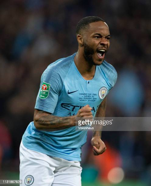Raheem Sterling of Manchester City celebrates scoring the winning penalty during the Carabao Cup Final between Chelsea and Manchester City at Wembley...