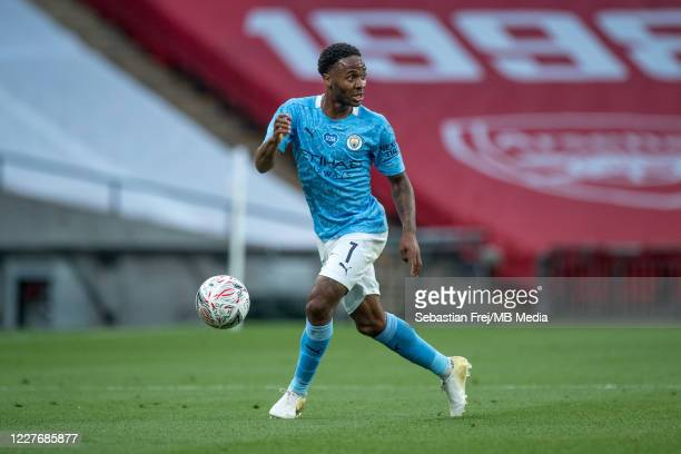 Raheem Sterling of Manchester City controls the ball during the FA Cup Semi Final match between Arsenal and Manchester City at Wembley Stadium on...