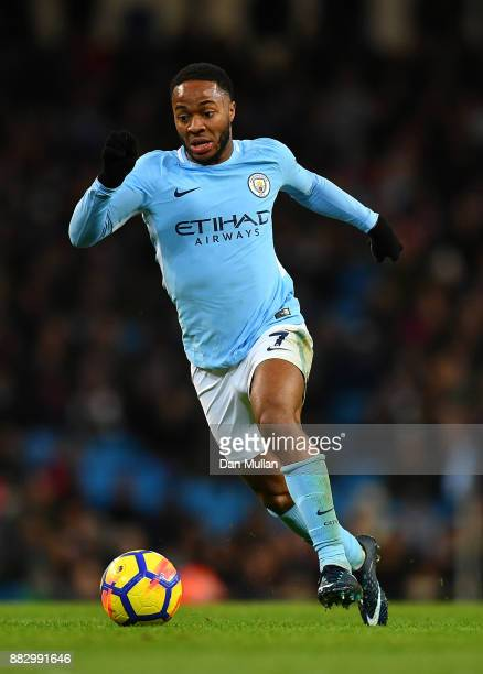 Raheem Sterling of Manchester City controls the ball during the Premier League match between Manchester City and Southampton at Etihad Stadium on...