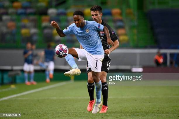 Raheem Sterling of Manchester City controls the ball during the UEFA Champions League Quarter Final match between Manchester City and Lyon at Estadio...