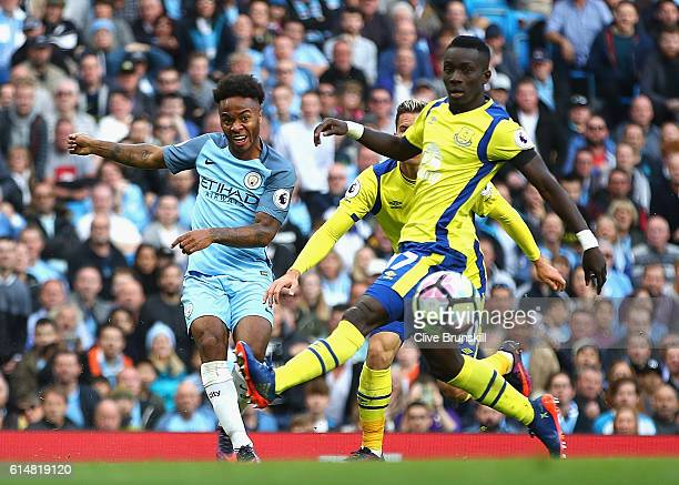 Raheem Sterling of Manchester City crosses the ball during the Premier League match between Manchester City and Everton at Etihad Stadium on October...