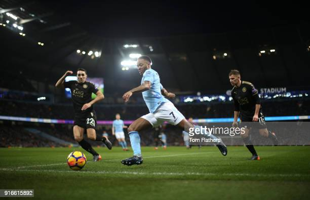 Raheem Sterling of Manchester City crosses the ball during the Premier League match between Manchester City and Leicester City at Etihad Stadium on...