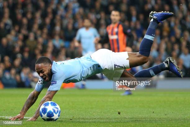 Raheem Sterling of Manchester City draws a foul and a penalty is awarded during the Group F match of the UEFA Champions League between Manchester...
